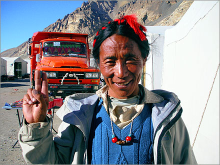 The friendly Tibetan proprietor of the English Hotel tent at Everest Base Camp.
