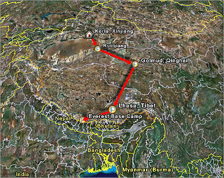 The route I'll be taking from Korla in Xinjiang to Lhasa in Tibet, via Golmud.